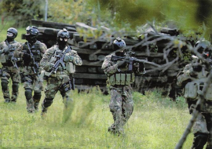 Operatori equipaggiati con caschetti anti urto Pro Tech (si noti la luce  stroboscopica applicata su di essi) ed armati di fucili d  assalto Colt CAR  M4 17296fde5293