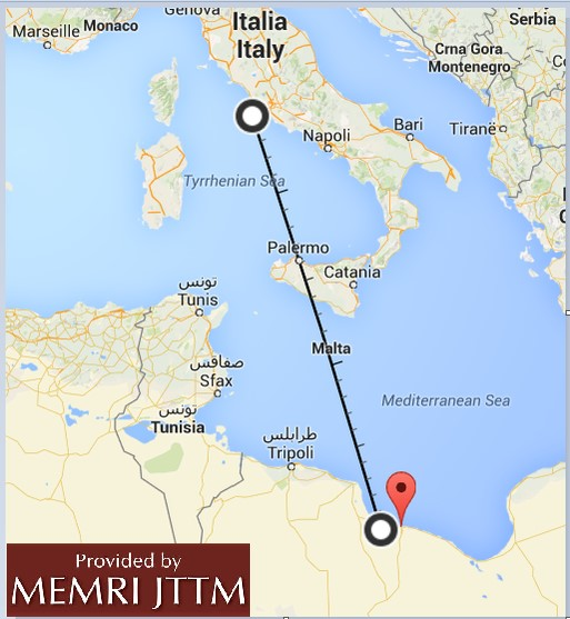 "Questo utente mostra la distanza tra Sirte e Roma: ""The distance between Sirte and Rome is 1250 km, like the distance between Jeddah and Dammam. In other words, a Scud missile can reach Rome. The distance to the edge of Italy [its southern border] totals 450 km."""