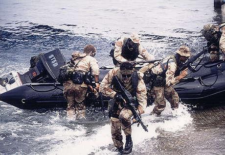 Operatori sbarcano su di una spiaggia nel corso di una esercitazione. Il milite in primo piano è armato di una mitragliatrice di squadra M-249 SAW (Squad Automatic Weapon) Minimi, in cal.5.56X45mm. I restanti operatori sono equipaggiati con fucili d' assalto Colt M-16, anch' essi camerati per lo stesso calibro